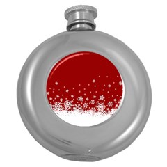 Xmas Snow 02 Round Hip Flask (5 Oz)