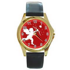 Cupid Bow Love Valentine Angel Round Gold Metal Watch
