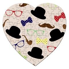 Moustache Hat Bowler Bowler Hat Jigsaw Puzzle (heart)