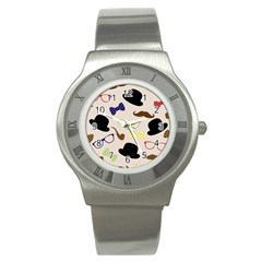 Moustache Hat Bowler Bowler Hat Stainless Steel Watch