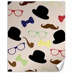 Moustache Hat Bowler Bowler Hat Canvas 16  X 20