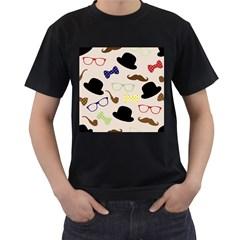 Moustache Hat Bowler Bowler Hat Men s T Shirt (black)