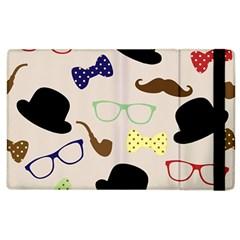 Moustache Hat Bowler Bowler Hat Apple Ipad 3/4 Flip Case