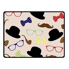 Moustache Hat Bowler Bowler Hat Double Sided Fleece Blanket (small)