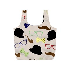 Moustache Hat Bowler Bowler Hat Full Print Recycle Bags (s)