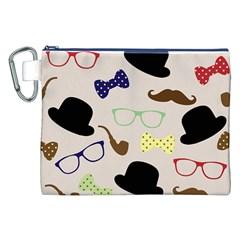 Moustache Hat Bowler Bowler Hat Canvas Cosmetic Bag (xxl)