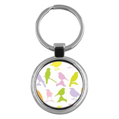 Birds Colourful Background Key Chains (round)