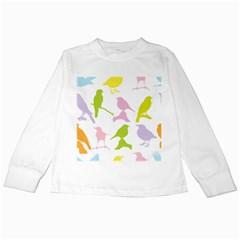 Birds Colourful Background Kids Long Sleeve T Shirts