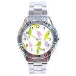 Birds Colourful Background Stainless Steel Analogue Watch Front