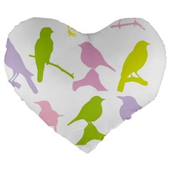 Birds Colourful Background Large 19  Premium Heart Shape Cushions