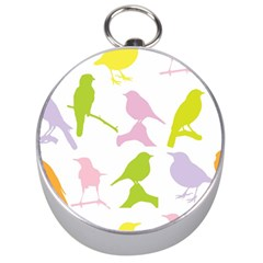 Birds Colourful Background Silver Compasses