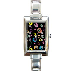 Abstract Background Retro 60s 70s Rectangle Italian Charm Watch