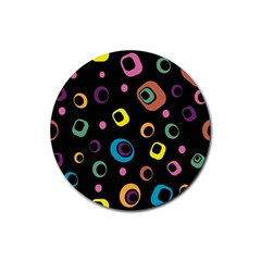 Abstract Background Retro 60s 70s Rubber Round Coaster (4 Pack)