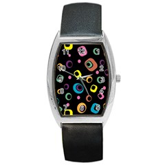 Abstract Background Retro 60s 70s Barrel Style Metal Watch