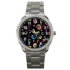 Abstract Background Retro 60s 70s Sport Metal Watch