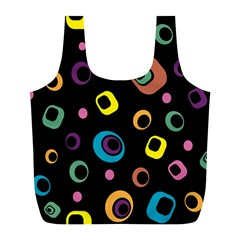 Abstract Background Retro 60s 70s Full Print Recycle Bags (l)