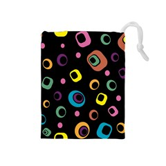 Abstract Background Retro 60s 70s Drawstring Pouches (medium)