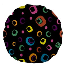 Abstract Background Retro 60s 70s Large 18  Premium Flano Round Cushions