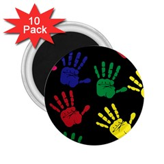 Handprints Hand Print Colourful 2 25  Magnets (10 Pack)