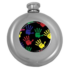 Handprints Hand Print Colourful Round Hip Flask (5 Oz)