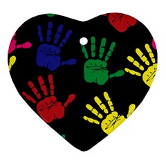 Handprints Hand Print Colourful Heart Ornament (two Sides)