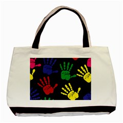 Handprints Hand Print Colourful Basic Tote Bag (two Sides)