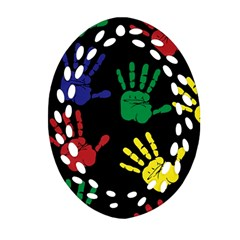 Handprints Hand Print Colourful Oval Filigree Ornament (two Sides)