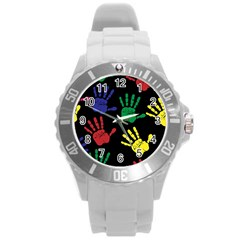 Handprints Hand Print Colourful Round Plastic Sport Watch (l)
