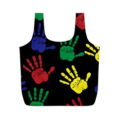 Handprints Hand Print Colourful Full Print Recycle Bags (m)