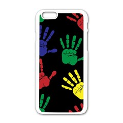 Handprints Hand Print Colourful Apple Iphone 6/6s White Enamel Case