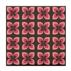 Floral Retro Abstract Flowers Tile Coasters