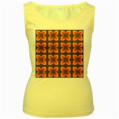 Floral Retro Abstract Flowers Women s Yellow Tank Top