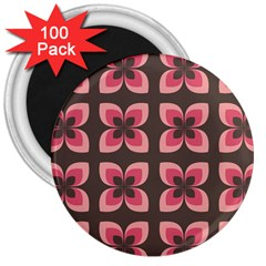 Floral Retro Abstract Flowers 3  Magnets (100 Pack)