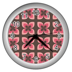 Floral Retro Abstract Flowers Wall Clocks (silver)