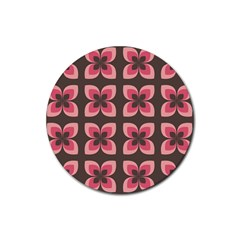 Floral Retro Abstract Flowers Rubber Coaster (round)