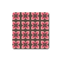 Floral Retro Abstract Flowers Square Magnet