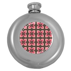 Floral Retro Abstract Flowers Round Hip Flask (5 Oz)