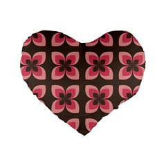 Floral Retro Abstract Flowers Standard 16  Premium Heart Shape Cushions