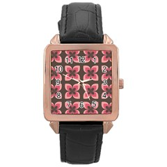 Floral Retro Abstract Flowers Rose Gold Leather Watch