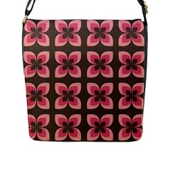 Floral Retro Abstract Flowers Flap Messenger Bag (l)