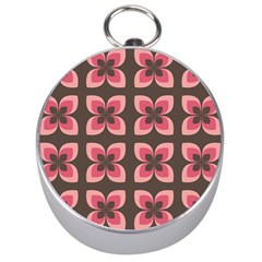 Floral Retro Abstract Flowers Silver Compasses