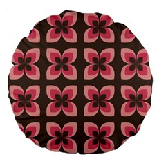 Floral Retro Abstract Flowers Large 18  Premium Flano Round Cushions