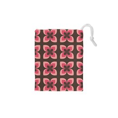 Floral Retro Abstract Flowers Drawstring Pouches (xs)