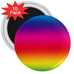 Spectrum Background Rainbow Color 3  Magnets (10 Pack)