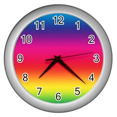 Spectrum Background Rainbow Color Wall Clocks (silver)