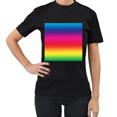 Spectrum Background Rainbow Color Women s T Shirt (black) (two Sided)