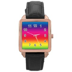 Spectrum Background Rainbow Color Rose Gold Leather Watch
