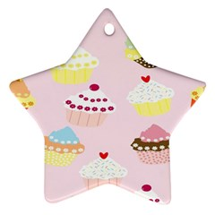 Cupcakes Wallpaper Paper Background Ornament (star)