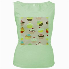 Cupcakes Wallpaper Paper Background Women s Green Tank Top
