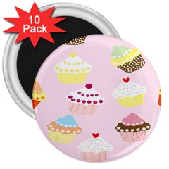 Cupcakes Wallpaper Paper Background 3  Magnets (10 Pack)